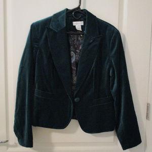 Worthington Size 12 Teal Velvet Blazer-Jacket